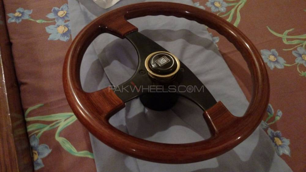 Dino wooden and brushed metal steering. Brand new. Italian Image-1