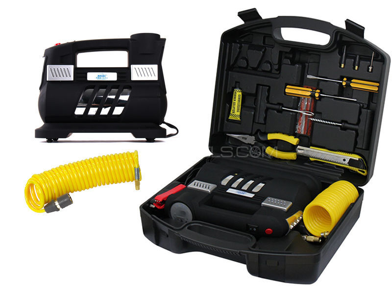 New Stylish Double Cylinders Air Compressor + Flash Light With Complete Tool Kit  in Lahore