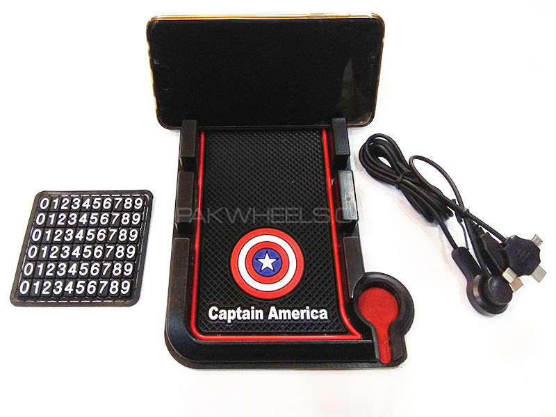 Universal Rubber Mobile Charger With Holder - Captain America Image-1