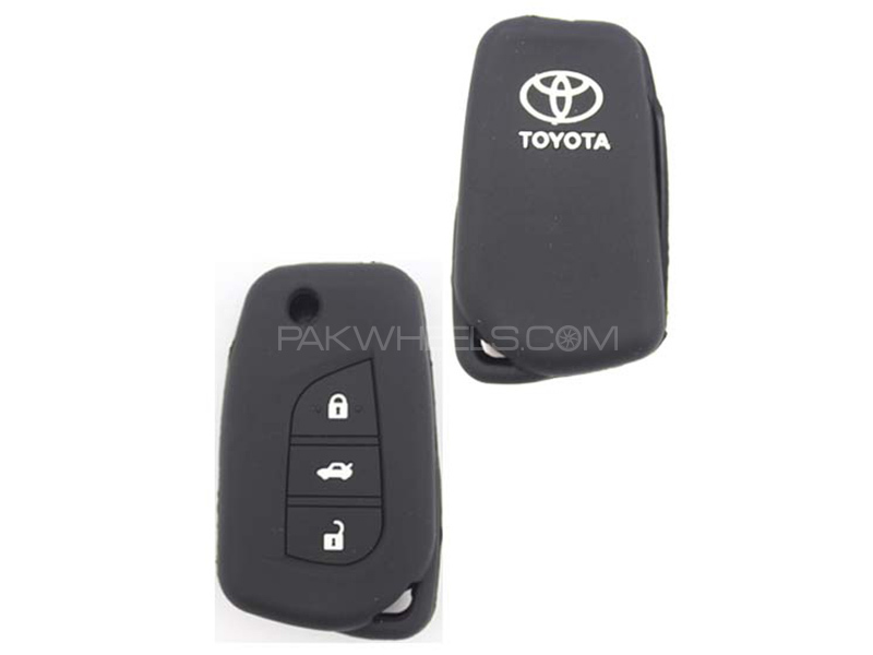 Silicon Key Cover For Toyota Corolla 2017 - Black  in Karachi