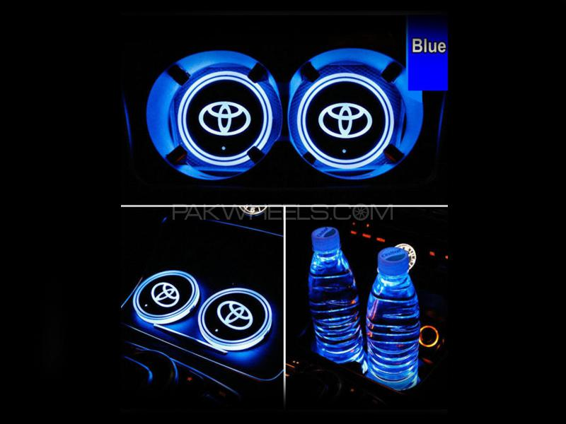 Toyota Glass Holder Multi Color Lights 2pcs Image-1