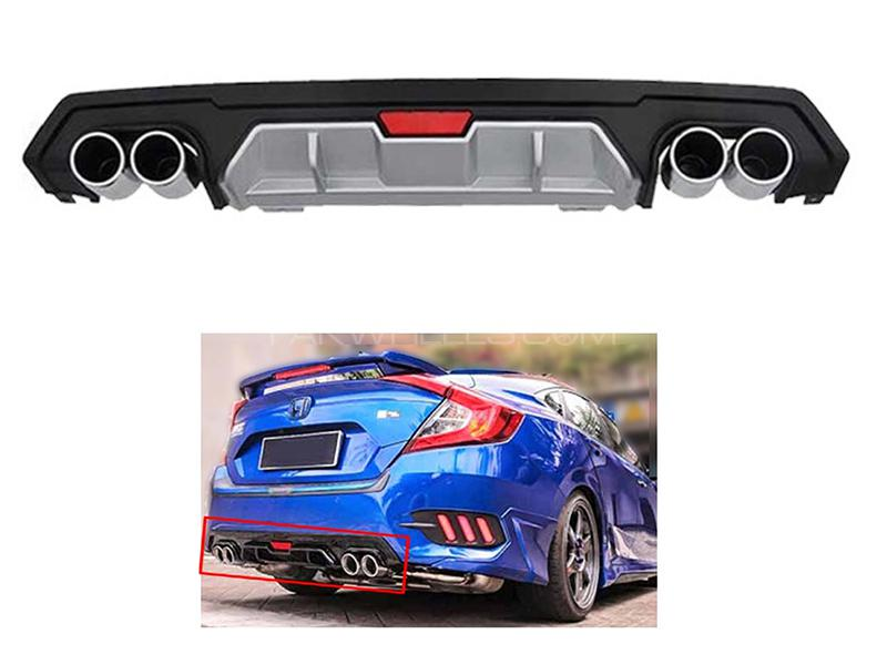 Diffuser Double Silencer Silver Black For Honda Civic 2016-2018 in Karachi