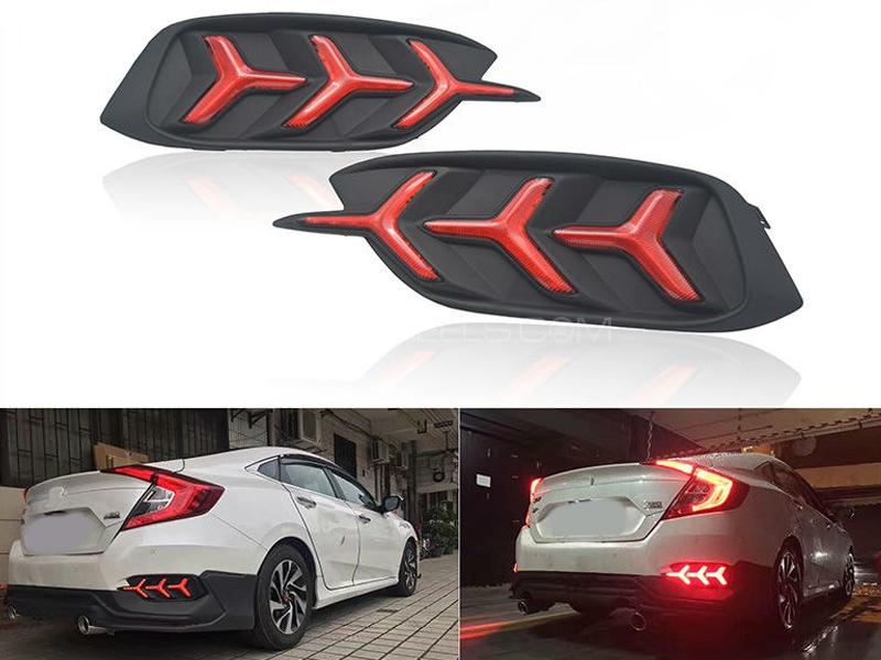 Honda Civic Lamborghini Style Rear DRL Bumper Lights For 2016-2020 Image-1