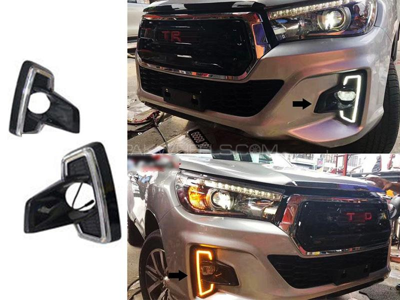 Toyota Hilux Led DRL Revo Rocco Fog Lamp Covers - 2016 - 2019 Image-1