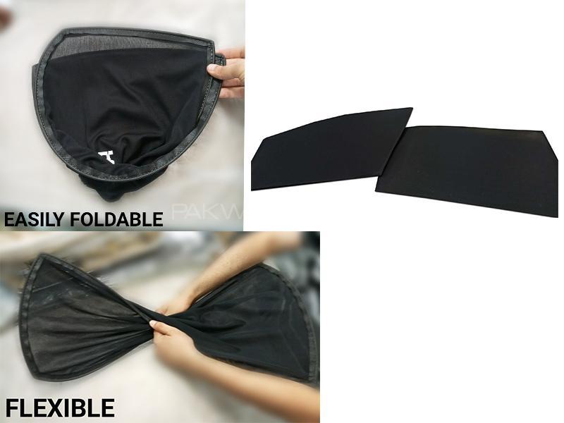 Foldable & Flexible Sun Shades For Honda Fit 2013-2019 - Dark Black in Karachi