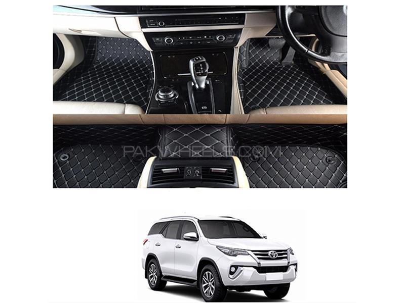 7D Floor Mat For Toyota Fortuner 2016-2019 - Black  Image-1