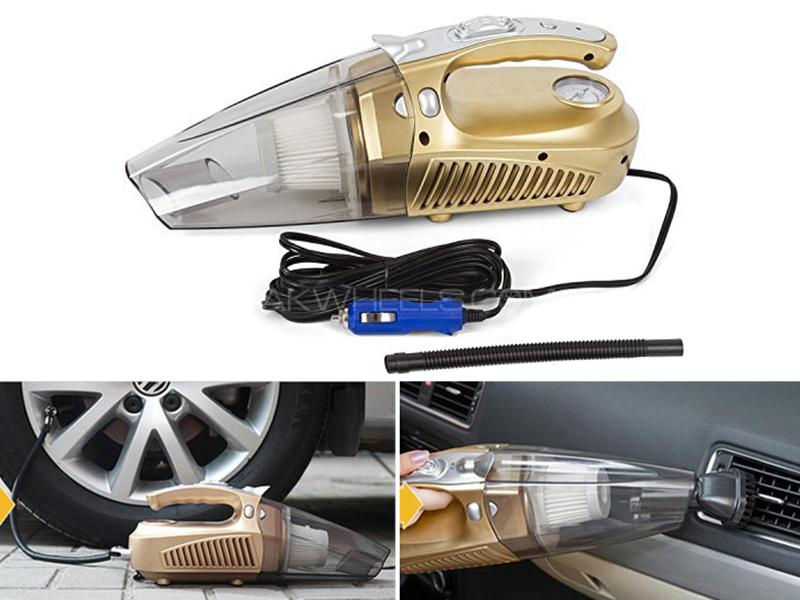 Heavy Duty 4 In 1 Portable Car Vacuum Cleaner & Tire Inflator in Lahore