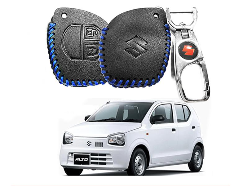 Leather Key Cover With Metal Chrome Keychain For Suzuki Alto 2019 - Blue in Karachi