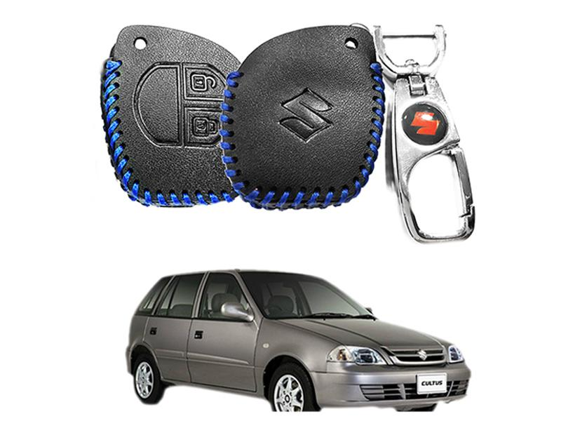 Leather Key Cover With Metal Chrome Keychain For Suzuki Cultus 2007-2016 - Blue in Karachi
