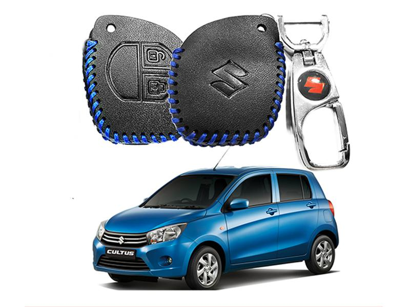 Leather Key Cover With Metal Chrome Keychain For Suzuki Cultus 2017-2019 - Blue in Karachi