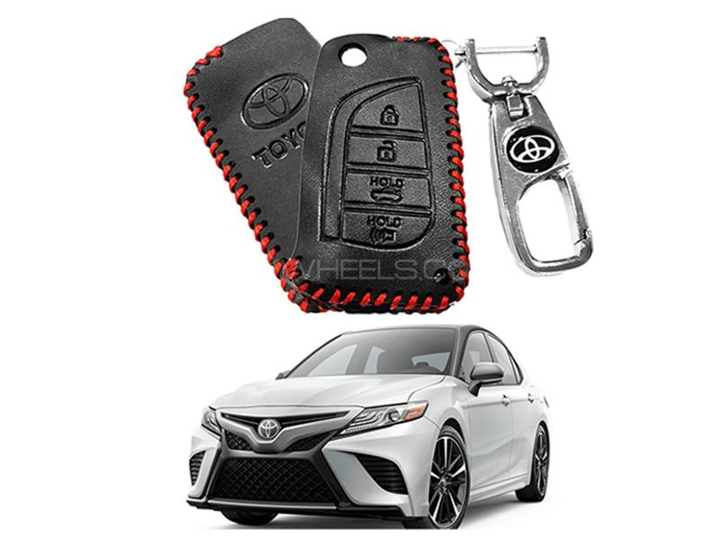 Leather Key Cover With Metal Chrome Keychain For Toyota Camry - Red in Karachi