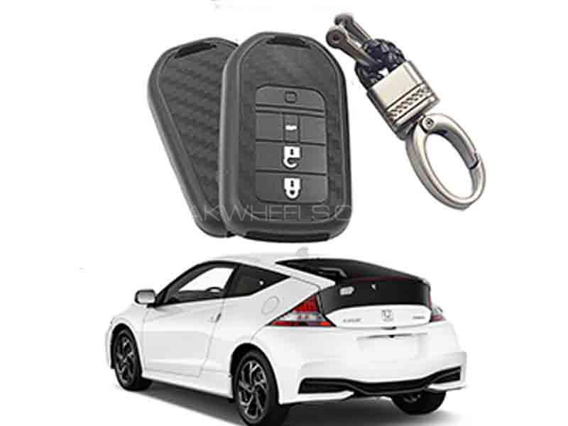 Carbon Fiber Style Key Cover With Rob Keychain For Honda CRZ in Karachi