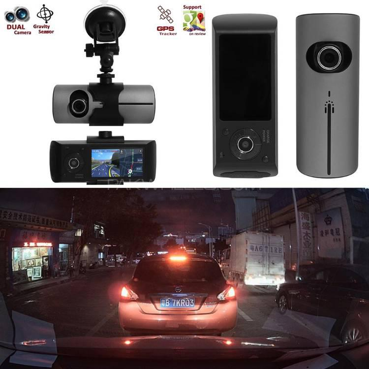 Dual Lens GPS CAMERA CAR DVR Dash Cam Video Recorder Night Vision R300 Image-1