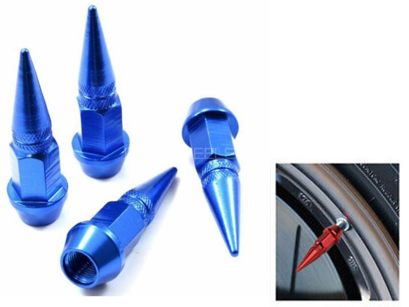 Universal Spike Style Aluminium Tire Valve Cap Cover - Blue in Karachi