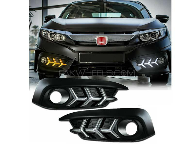 Honda Civic Lamborghini Style DRL Fog Lamp Covers For  2016-2020 Image-1