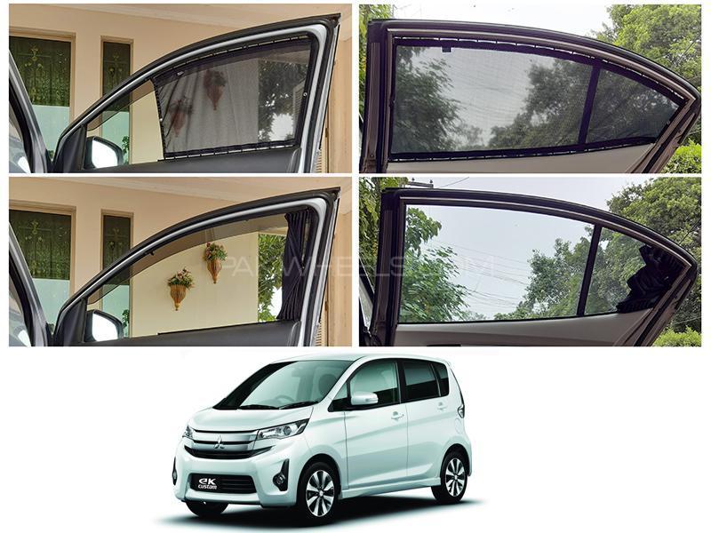 Awra Foldable Fitting Curtain Black Shades For Mitsubishi Ek Custom 2013-2020 Image-1