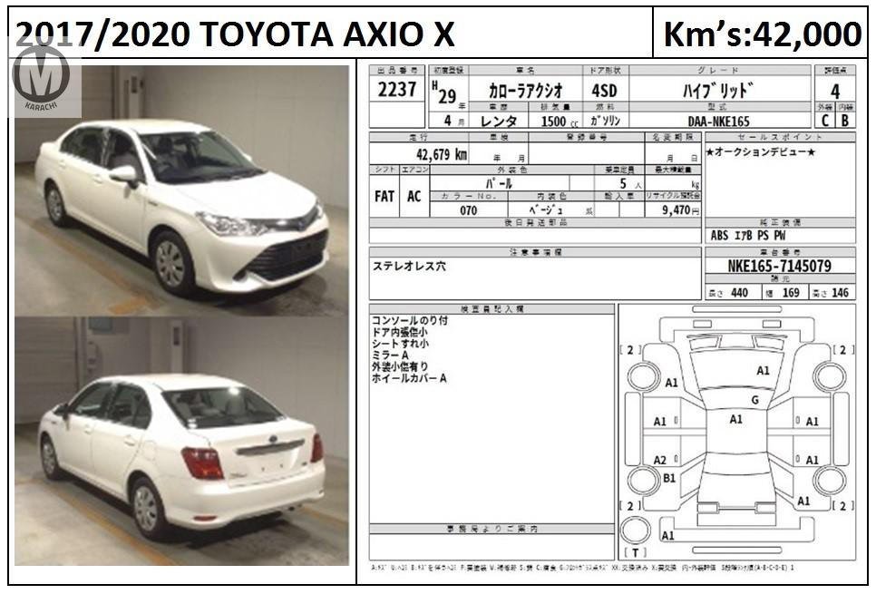TOYOTA AXIO X  1500 CC HYBRID 2017 MODEL PEARL WHITE COLOUR 42,000 KM GARDE 4  Merchants Automobile Karachi Branch, We Offer Cars With 100% Original Auction Report Based Cars With Money Back Guarantee.  Recommended Tips To Buy Japanese Vehicle:  1. Always Check Auction Report. 2. Verify Auction Report From Someone Else. 3. Ask For Japan Yard Pics If Possible.  MAY ALLAH CURSE LIARS..
