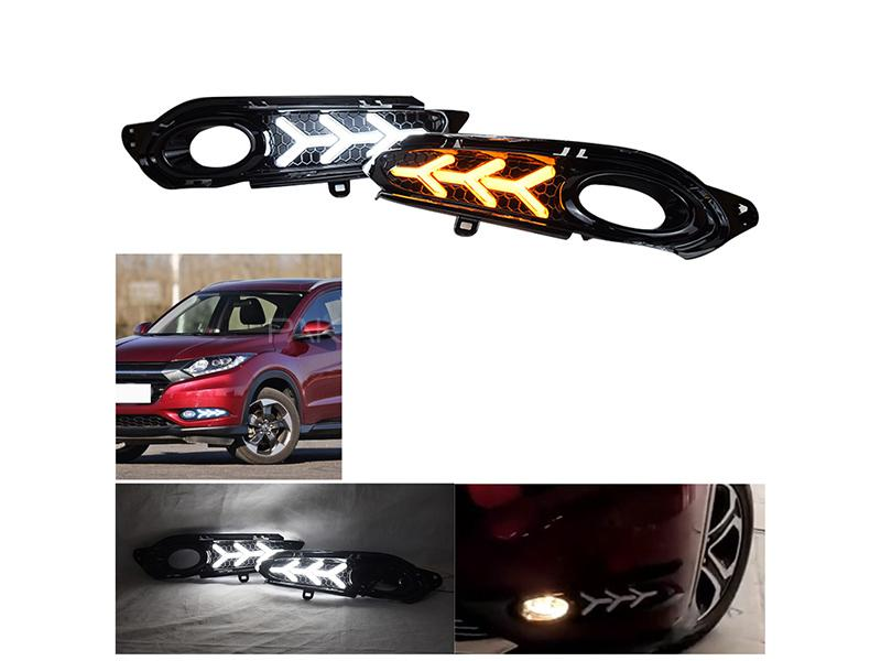 Honda Vezel 2013-2020 V3 Style Fog Lamp Cover With LED Image-1
