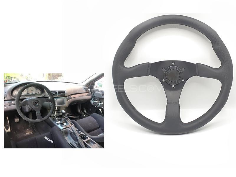 Universal Leather Steering Wheel Black  Image-1