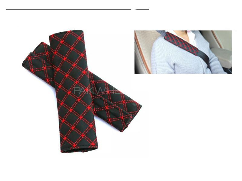 Seat Belt Covers Black And Red 2pcs in Lahore