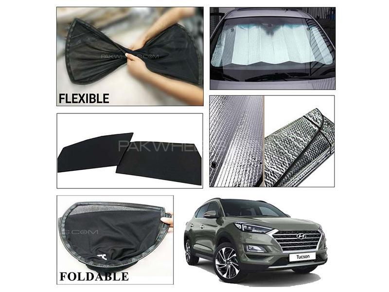 Hyundai Tucson 2020-2021 Foldable Shades And Front Silver Shade - Bundle Pack  in Karachi