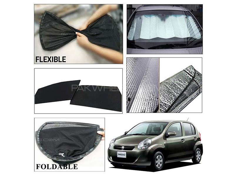 Toyota Passo 2010-2016 Foldable Shades And Front Silver Shade - Bundle Pack  in Karachi