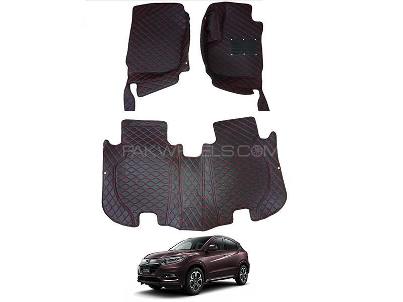 Honda Vezel 2013-2021 7D Luxury Floor Mats With Burrs - Black & Red in Karachi