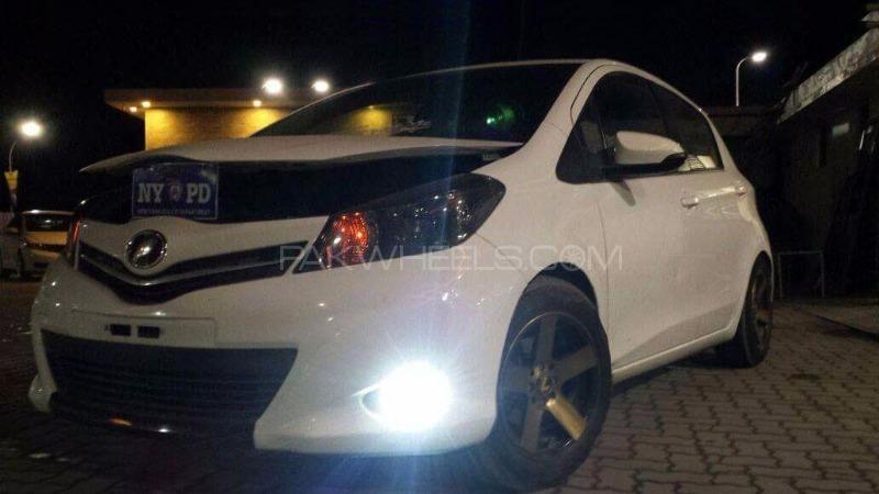Toyota Vitz - 2015 white Demon Image-1